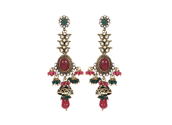 Amazing Red & Green Victorian Earrings